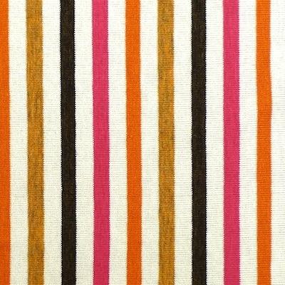 Tissu en jersey à lignes rose, noir, orange et brun sur fond blanc