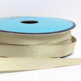 Ribbon with taupe and white herringbone pattern