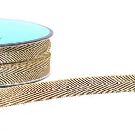 ruban sergé métallisé chocolat et doré