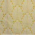 Tissu jacquard inspiration Art Déco blanc et or