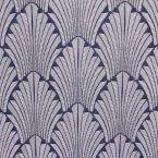 Tissu jacquard inspiration Art Déco bleu marine et blanc