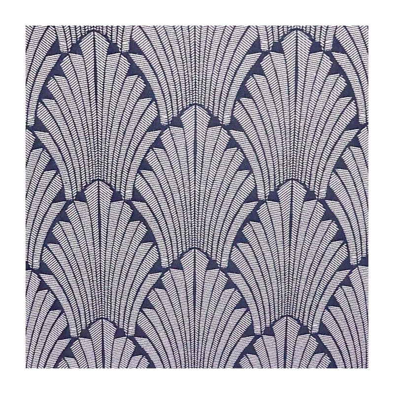 Tissu jacquard inspiration art d co bleu marine et blanc - Tissu ameublement art deco ...