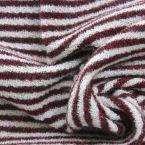 Tissu vestimentaire maille rayé bordeaux et blanc