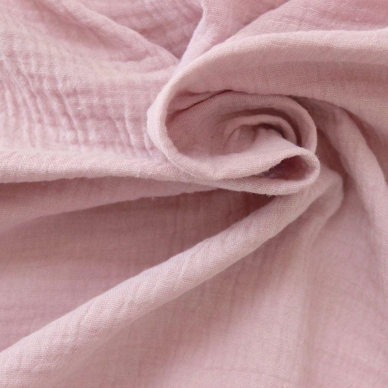 tissu double gaze de coton rose poudr au m tre. Black Bedroom Furniture Sets. Home Design Ideas