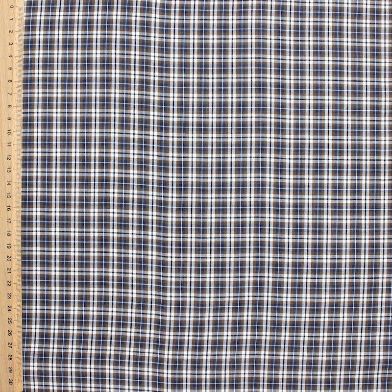 Voile de coton carreaux kaki et bleu au m tre - Voile de forcage au metre ...