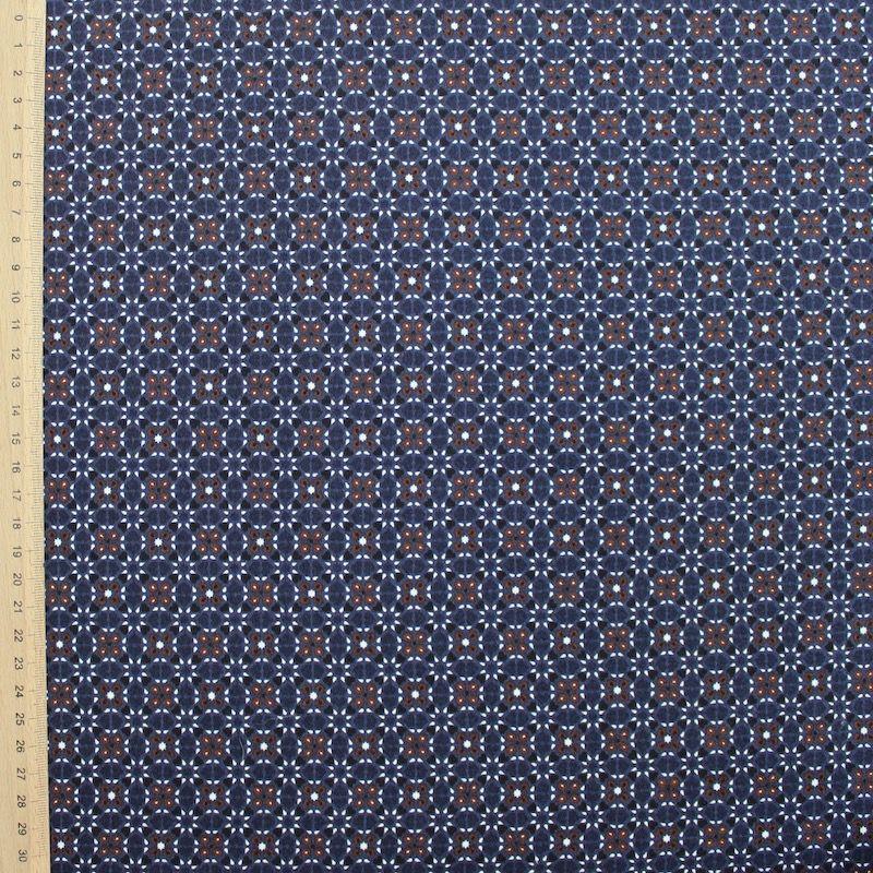 satin de coton stretch motif floral bleu marine. Black Bedroom Furniture Sets. Home Design Ideas