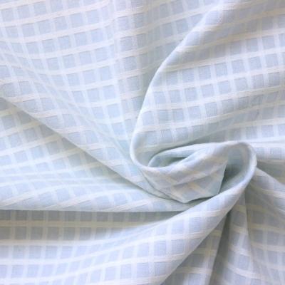 Tissu en coton à petits carreaux bleu et blanc