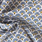 Cotton fabric with blue mosaic