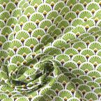 Tissu en coton à motif d'éventails doré et vert gazon