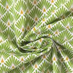Tissu en coton à motif d'écaille dorée et vert gazon