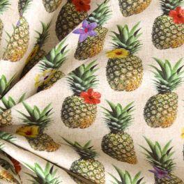 Popeline de coton imprimé ananas