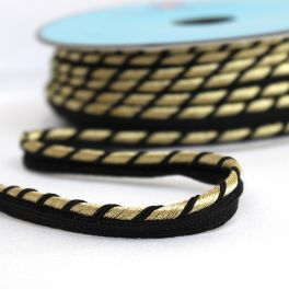 Black piping cord braided with silver-coloured thread