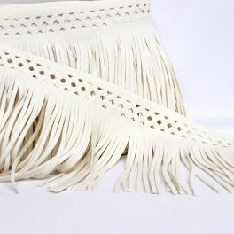 Braid simili leather beige with fringes