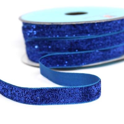 ruban velours lurex bleu roi