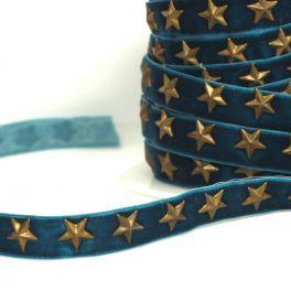 Galon velours bleu canard avec étoiles bronze