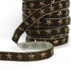 Galon velours vert avec étoiles bronze