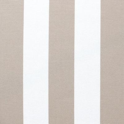 Tissu d'extérieur en dralon  bayadère taupe clair et blanc
