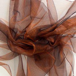 Voile polyester irisé à reflets oranges