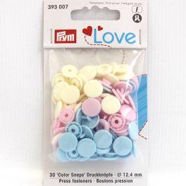 Boutons pression Prym Love rose, bleu clair, perle