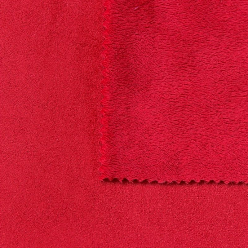 tissu pais r versible uni rouge no l imitant le daim au m tre. Black Bedroom Furniture Sets. Home Design Ideas
