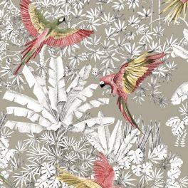 Tissu imprimé de perroquets rose et jaune sur fond ficelle