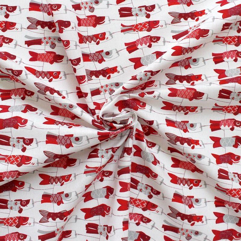 Tissu en coton motif cerf volant japonais koi rouge for Koi en japonais