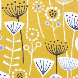 Tissu d'ameublement imprimé floral jaune ochre