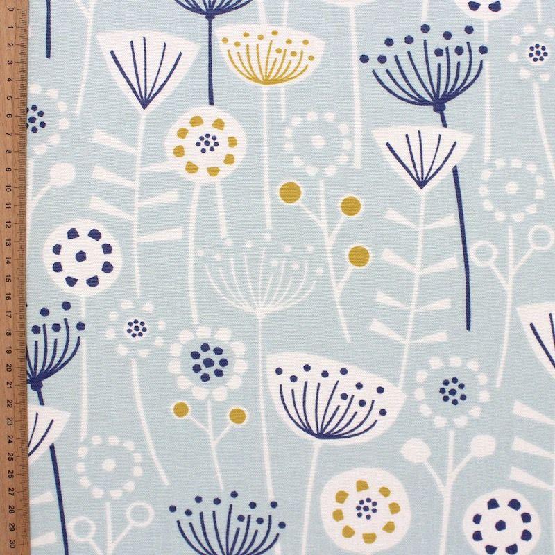 Tissu d'ameublement imprimé floral bleu