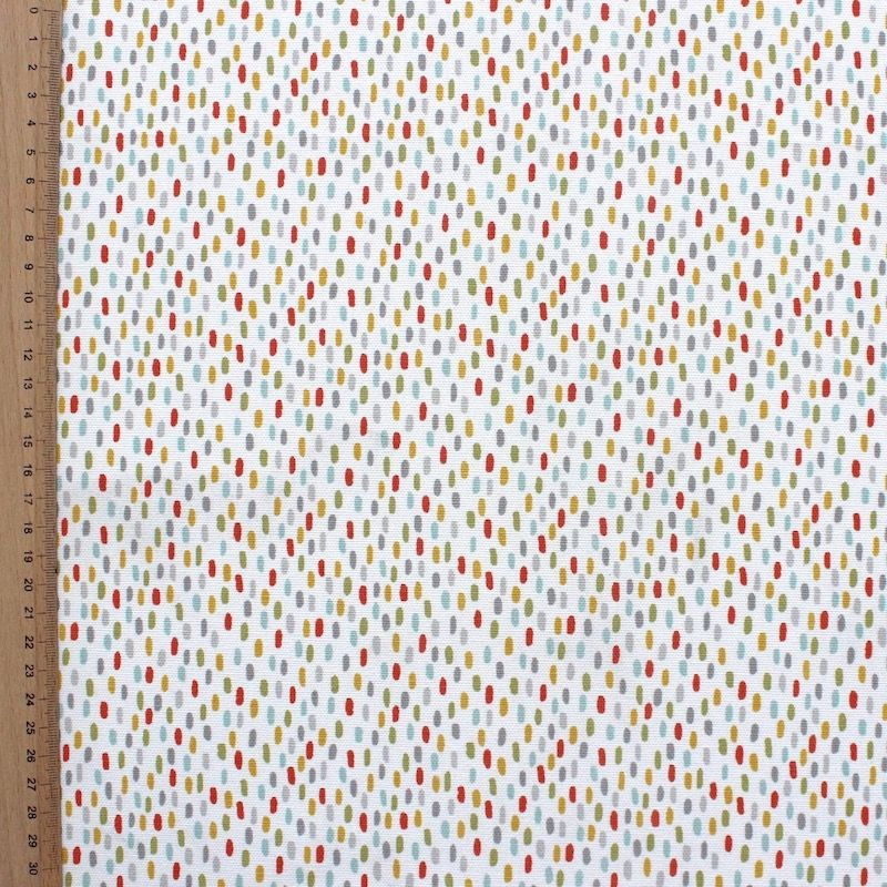 Tissu d'ameublement imprimé petits tirets multicolores