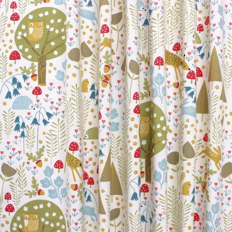 Tissu d'ameublement imprimé bois des rêves multicolore