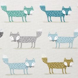 Tissu d'ameublement imprimé de renards vert anis