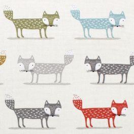 Tissu d'ameublement imprimé de renards multicolore