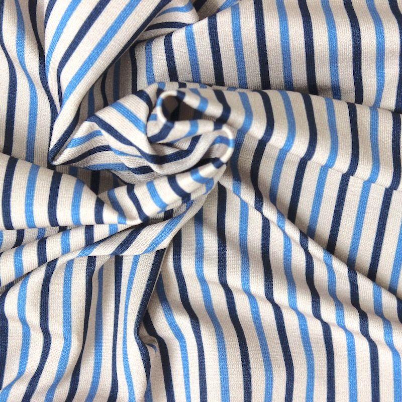 tissu jersey rayures fines bleues et beiges. Black Bedroom Furniture Sets. Home Design Ideas