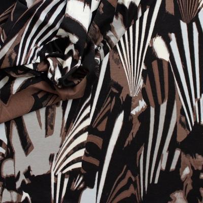 Stretch jersey stof met meerkleurig vintage motief
