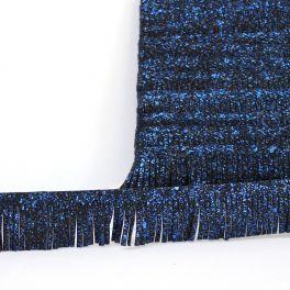 Galon simili noir frange moucheté bleu