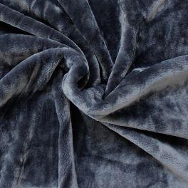 Velours Minkee noir gris anthracite
