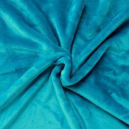 Velours Minkee bleu turquoise uni