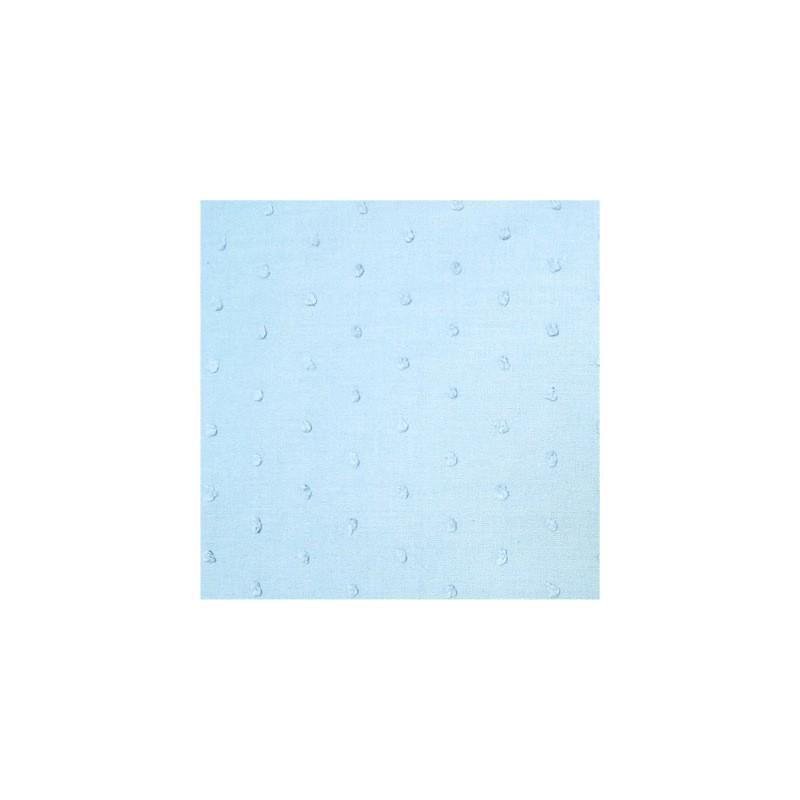 Katoen met geborduurde stippen lichtblauw