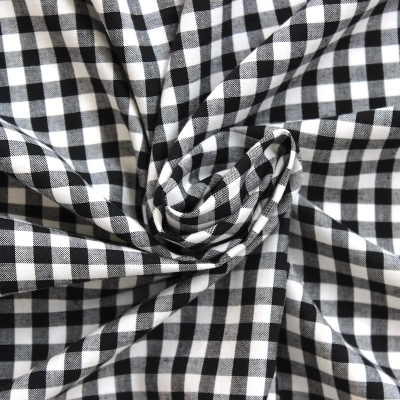Green and black checked cotton fabric