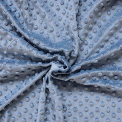 Velours Minkee  à pois en relief bleu nuage
