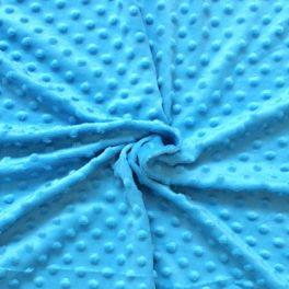 Velours Minkee  à pois en relief bleu piscine