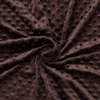 Velours Minkee  à pois en relief chocolat