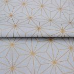 Cotton and polyester fabric with grey geometric design