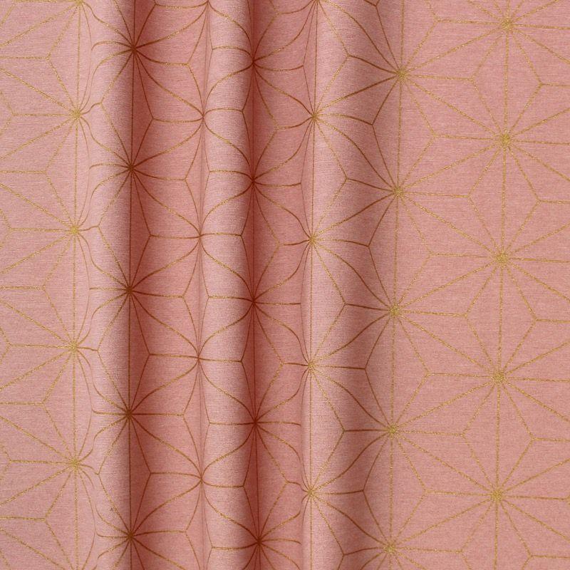 Tissu d'ameublement à motif géométrique doré sur fond rose