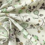 Groen Crepe stof met bloemen
