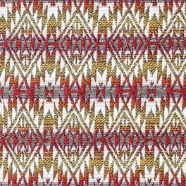 Cotton and polyester fabric with pink and orange ethnic design on beige background