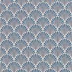Meubelstof met kleine blauwe origami motiefjes op een greige achtergrond