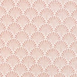 Furniture fabric printed with small yellow origami patterns on a greige background