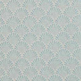 Furniture fabric printed with small green origami patterns on a greige background
