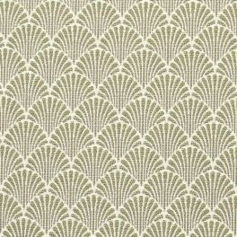 Furniture fabric printed with small blue origami patterns on a greige background